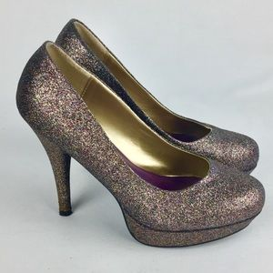 Madden Girl Atonne Glitter Platform Pumps 7.5